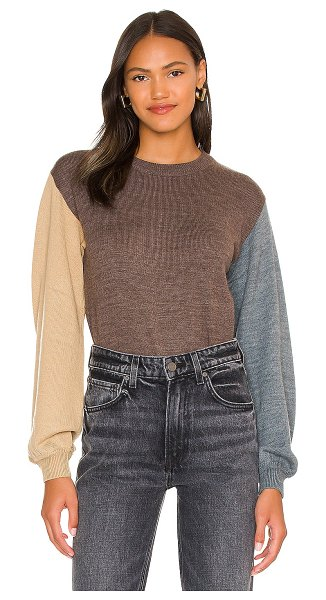 One Grey Day bailey pullover in chocolate combo