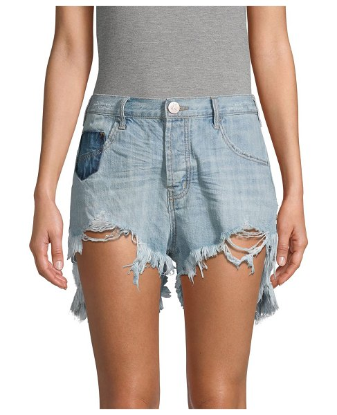 One Teaspoon Le Wolves Mid-Rise Ripped Denim Shorts in hustler