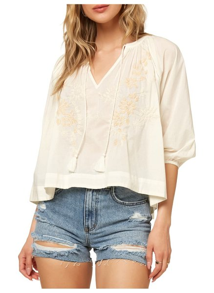 O'Neill aven embroidered woven top in winter white