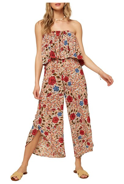 O'Neill kyler floral print strapless crop jumpsuit in winter white