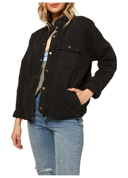 O'Neill mable knit quilted jacket in washed black