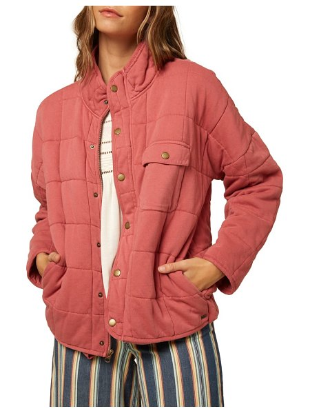 O'Neill mable knit quilted jacket in faded rose