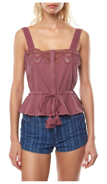 O'Neill sun lover crochet trim tank top in dusty tulip