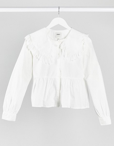 Only shirt with lace trim collar in white in white