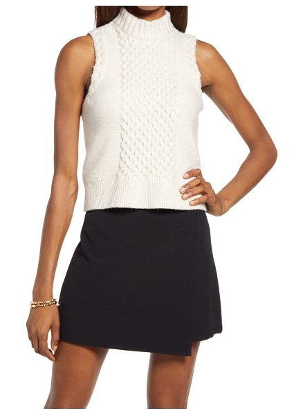 Open Edit cable knit sleeveless sweater in beige oatmeal