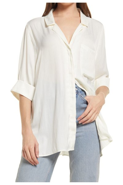 Open Edit satin camp shirt in ivory