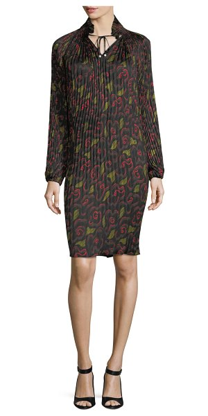 Opening Ceremony Pleated Floral-Print Split-Neck Dress in red pattern - Opening Ceremony pleated dress in floral-print. Stand...
