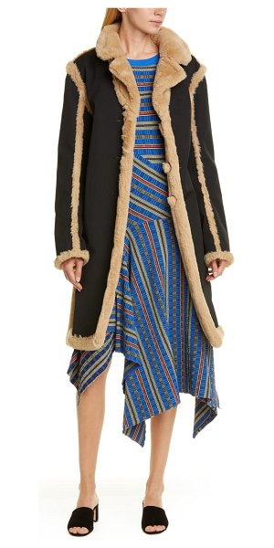 Opening Ceremony reversible faux fur coat in black/ camel