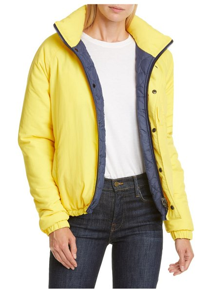 Opening Ceremony water resistant reversible quilted puffer coat in fluorescent yellow