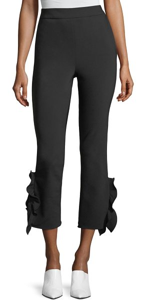 "Opening Ceremony William High-Waist Cropped Flounce Hem Pants in black - Opening Ceremony ""William"" stretch-woven pants. Sits..."