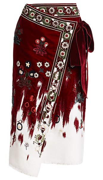 Oscar de la Renta embroidered velvet midi wrap skirt in claret multi
