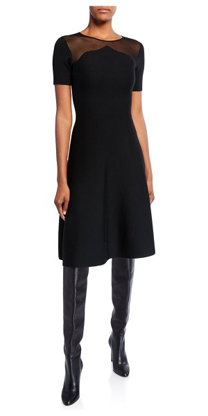 Oscar de la Renta Knit Mesh-Shoulder Day Dress in black