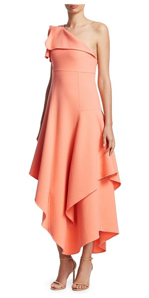 Oscar de la Renta One-Shoulder Asymmetric Ruffle Dress in melon