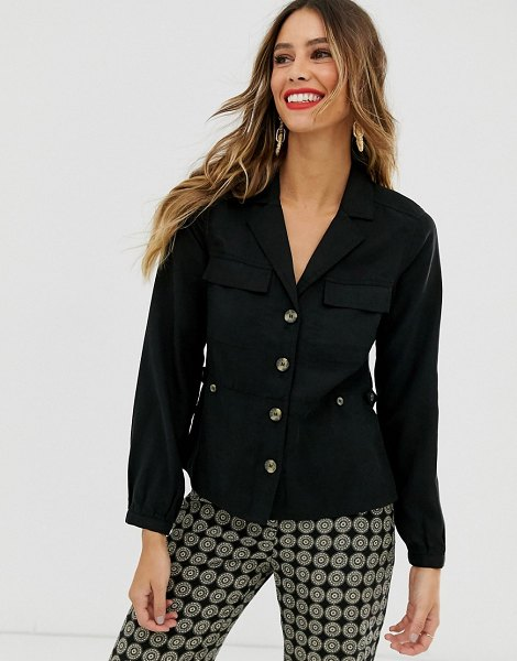 Other Stories &  button through utility blouse in black in black
