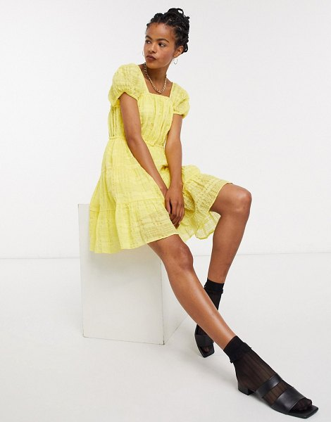 Other Stories &  eco cotton square neck smock dress in yellow-blue in blue