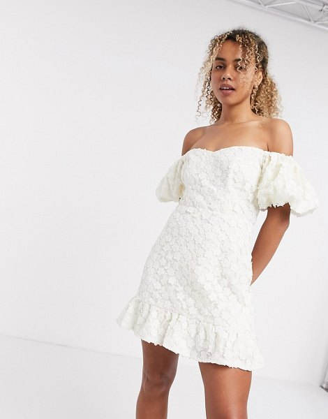 Other Stories &  floral lace puff sleeve mini dress in white in white