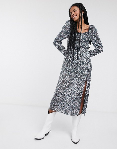 Other Stories &  floral print puff-sleeve midi dress in multi in multi