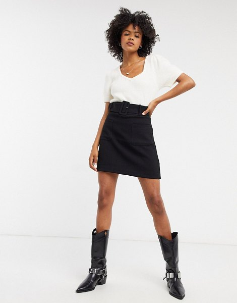 Other Stories &  high waist belted mini skirt in black in black
