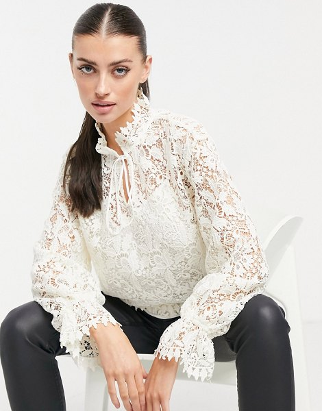 Other Stories &  lace blouse in white in white
