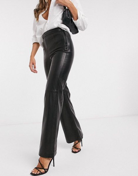 Other Stories &  leather flared pants in black in black