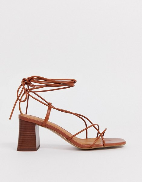 Other Stories &  leather strappy heeled sandals in cognac in brown