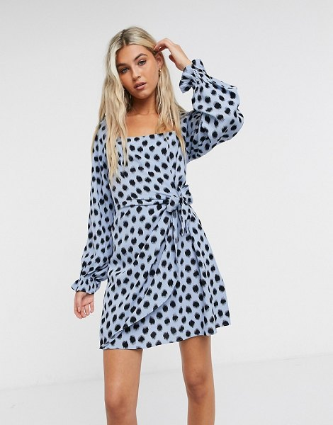 Other Stories &  long sleeve mini dress in blue and black polka dots in blue