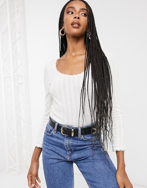 Other Stories &  organic cotton pointelle scoop neck top in off white in white