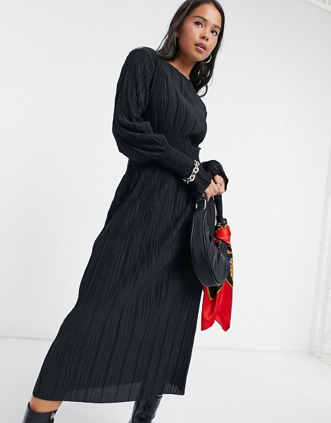 Other Stories &  recycled plisse gathered midi dress in black in black