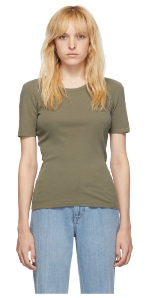 Our Legacy green slim rib t-shirt in dark olive