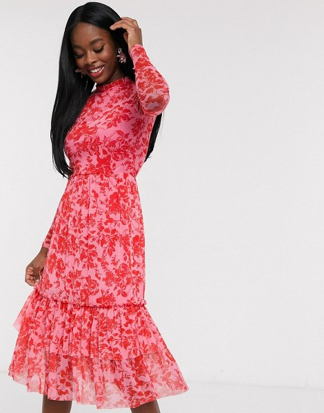 Outrageous Fortune high neck pleated mesh midi dress in red floral print-multi in multi