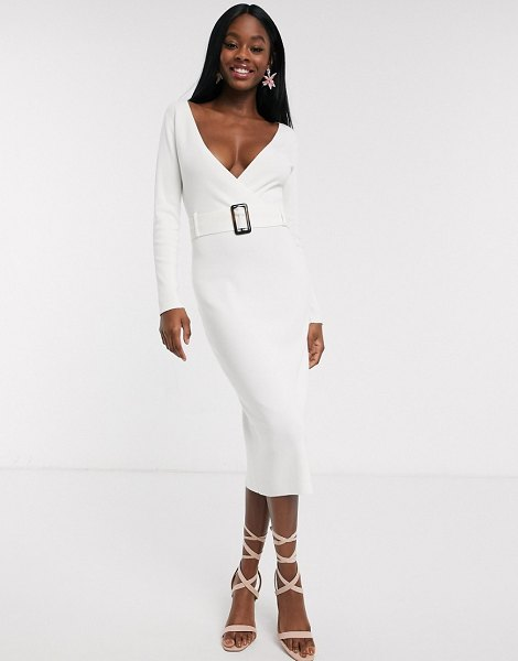 Outrageous Fortune wrap front knitted midi pencil dress with belt detail-cream in cream