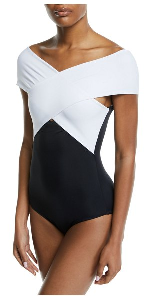 OYE Swimwear Zenia Off-the-Shoulder One-Piece Swimsuit in black/white