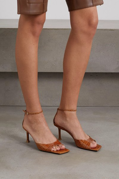 Paciotti croc-effect leather sandals in tan