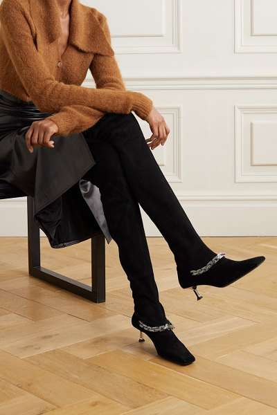 Paciotti embellished faux suede over-the-knee boots in black