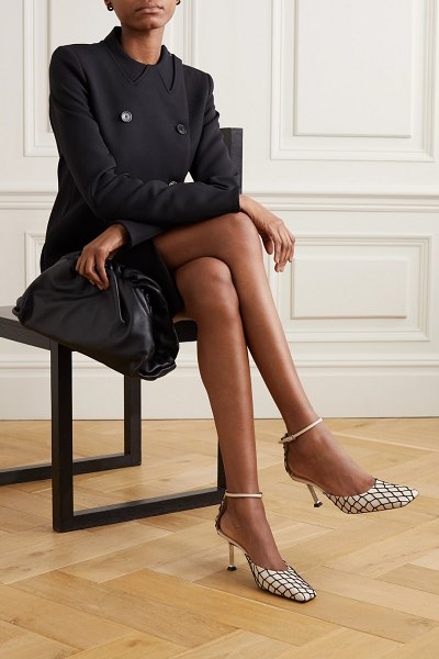 Paciotti leather and fishnet pumps in cream