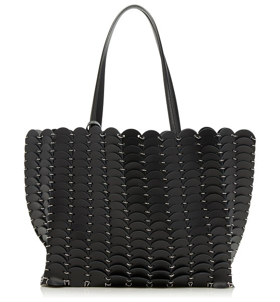 Paco Rabanne cabas disc leather tote in black