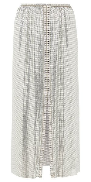 Paco Rabanne crystal-embellished chainmail midi skirt in silver