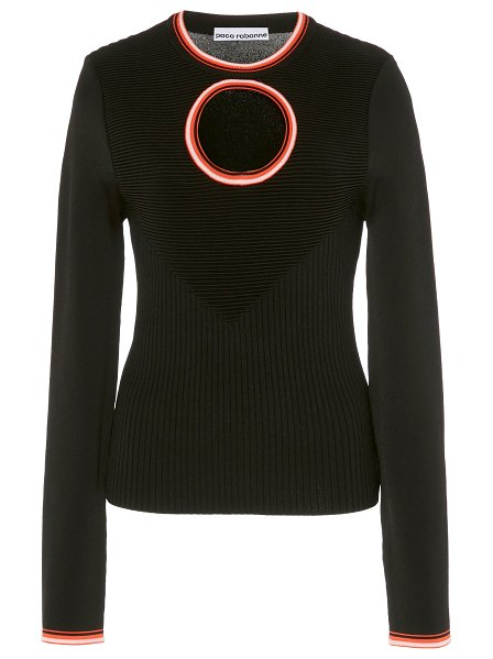 Paco Rabanne cutout stretch-knit sweater in black