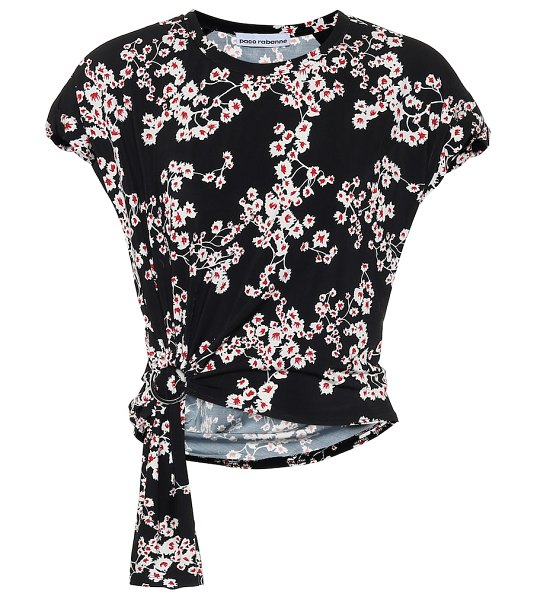 Paco Rabanne floral top in black