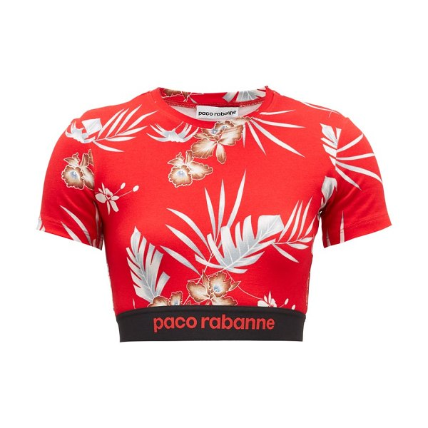 Paco Rabanne hawaiian-print jersey cropped top in red print