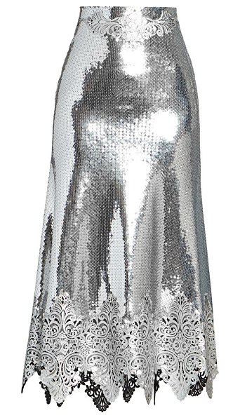 Paco Rabanne jupe embroidered sequin mermaid skirt in silver