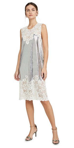 Paco Rabanne lace trim slip dress in silver