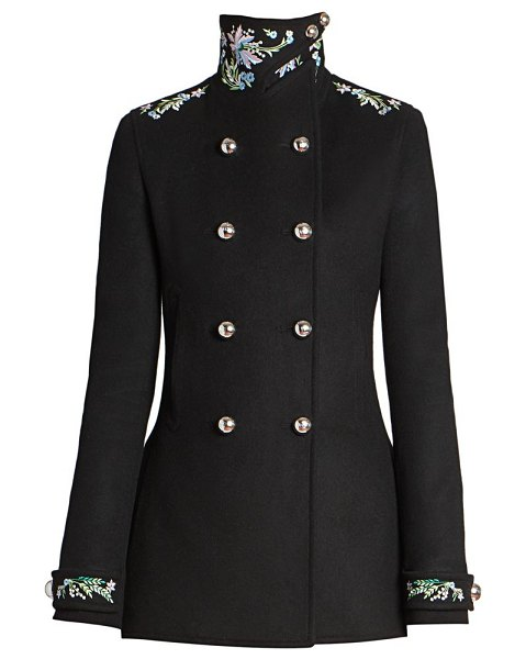 Paco Rabanne manteau caban embroidered wool-blend jacket in black