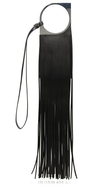 Paco Rabanne mini paquito fringe leather shoulder bag in black