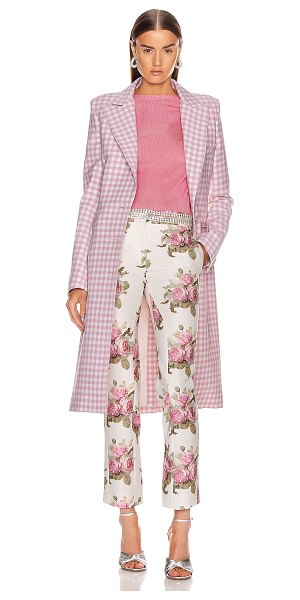Paco Rabanne plaid check coat in pink vichy