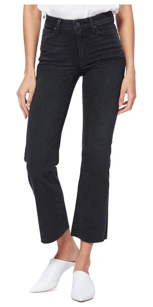 PAIGE atley high waist raw hem crop flare jeans in black willow