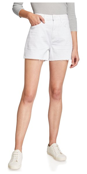 PAIGE Dani Denim Shorts with Raw Hem in lived in crisp wh