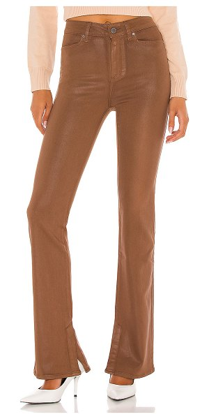 PAIGE high rise manhattan boot in cognac luxe coating