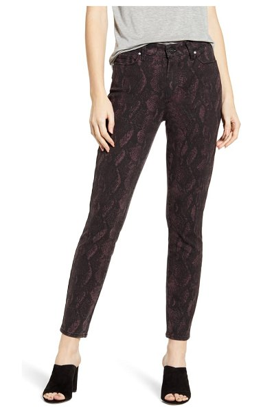 PAIGE hoxton high waist ankle skinny jeans in black fig python