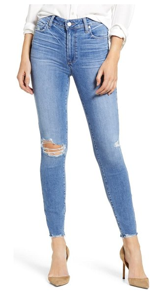 PAIGE hoxton ripped high waist ankle skinny jeans in dezi destructed